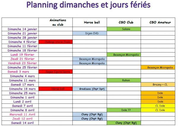 fbe3b6b0590 Planning des compétitions   animations dimanches et jours fériés 2018